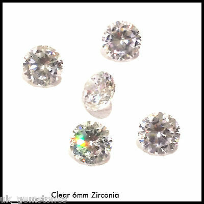 Cubic Zirconia 6mm Round Brilliant Cut,  AAAAA Grade Clear . One stone.