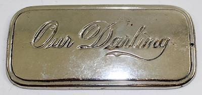 "Rare Antique c. 1930 ""Our Darling"" Coffin Casket Plaque from Funeral Museum"