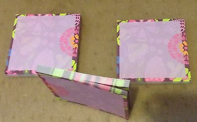 3 Post-it Super Sticky Notes 4 x 4 Flower Design - 3 Pads - New