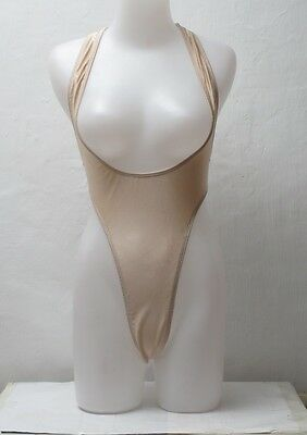 New Shiny Cream Colored Sportsback Suspender Thong Leotard for Women size Small