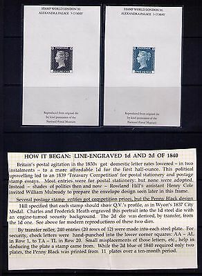 Great Britain Stamps SC# 1-2 Reproductions Proofs for Stamp World London 90 MNH