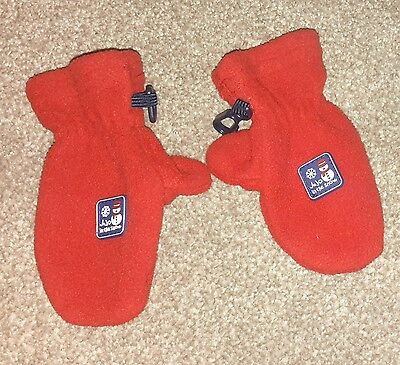 Jojo Maman Bebe red polar fleece mittens,  1-2 years