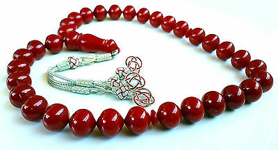 Red Amber Bakelite 33 Prayer Beads Misbaha Tasbih