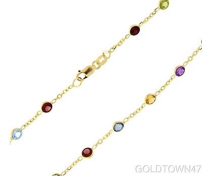 14K Anklet Yellow Gold Shiny Link +Multi Color Round Faceted Station Stone