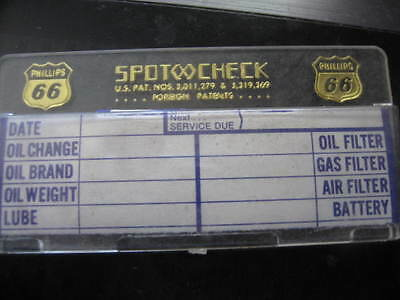 1 Phillips 66 / Spot Check service record  holder  with 30 reminder labels  old