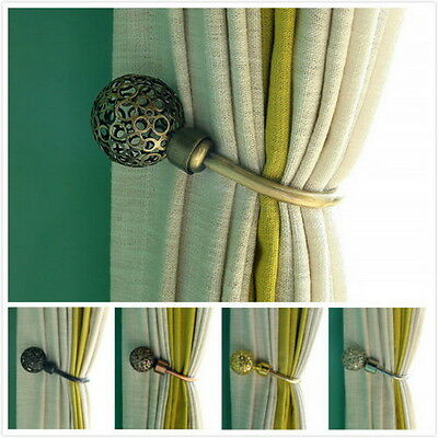 Modern Curtain Holdback Tieback Hollow Metal Tie Tassel Hook Loop Holder DF