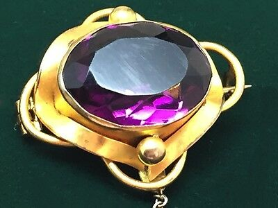 Antique Victorian Amethyst Gilt Gold Brooch circa 1890s