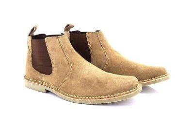 Mens Fashion Boots Roamers Leather Boots Taupe Real Suede