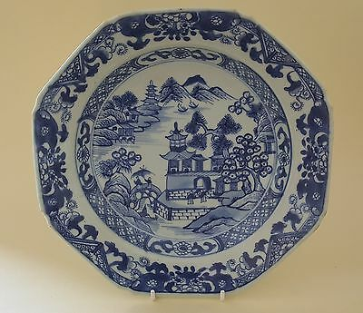 Chinese export blue white vintage pre Victorian oriental antique octagonal plate