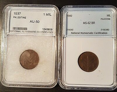 2 Palestine British Occupation  1 Mil 1937 1940 Ms62 Boxed Low Mintage
