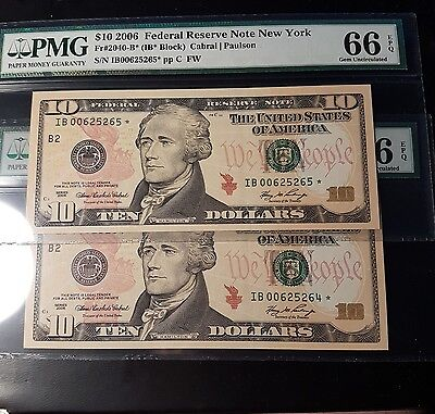 Low Serial Duet $10 Replacement Star 2040-B*  PMG 66 EPQ Rare Consecutive 2006 !