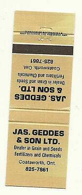 Matchbook Cover JAS Geddes and Son Fertilizer Agriculture Coatsworth Ontario tan