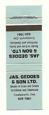 Matchbook Cover JAS Geddes and Son Fertilizer Agriculture Coatsworth Ontario blu