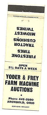 Matchbook Cover Yoder & Frey Farm Machine Auctions Archbold Ohio