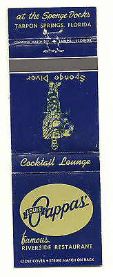 Matchbook Cover Louis Pappa's Riverside Sponge Diver Restaurant Bar Florida