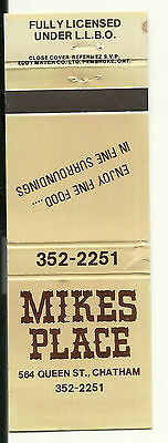 Matchbook Cover Mike's Place Chatham Restaurant Ontario Canada