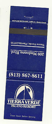 Matchbook Cover Tierra Verde Island Resort Madonna Boulevard Florida