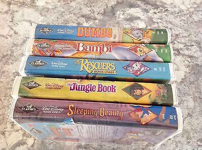 Disney Black Diamond VHS Dumbo Jungle Rescuers Beauty Bambi Lot of 5
