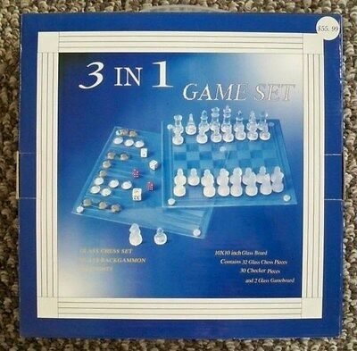 New 3 in1 Game Set Glass Chess Backgammon Checkers 2 Gameboards 10x10 NIB $55.99