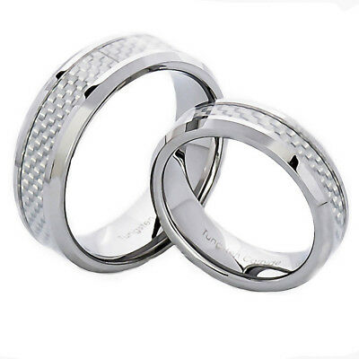 Silver Tungsten His & Hers Engagement Wedding Band Ring Sets White Carbon Fiber