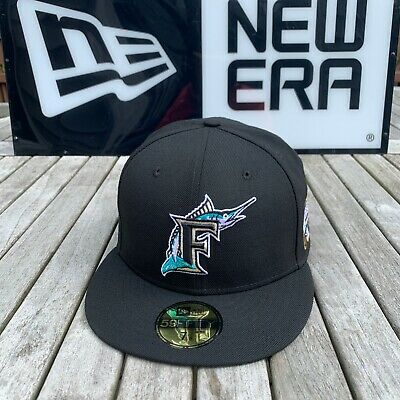 NEW ERA FLORIDA Marlins Fitted Hat Cap 2003 World Series All BLACK ... 499383e5a216