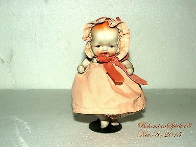 Antique Japan Miniature Bisque Baby Girl Double Jointed 6'' Bonnet Dress Doll