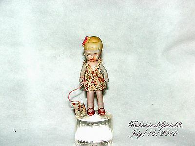 Antique Japan Bisque Girl With Dog On A Leash Jointed Arms Miniature 5'' Doll