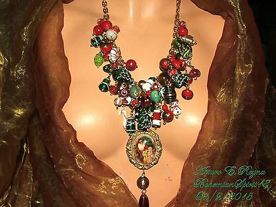 Arturo E.reyna Santa Claus & Girl Cameo Lampwork Glass Beads Charms Bib/necklace