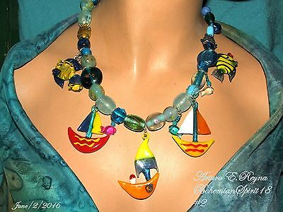 Arturo E.Reyna OCEAN SCENE LAMPWORK BEADS GLASS CHARMS BOATS FISH NECKLACE