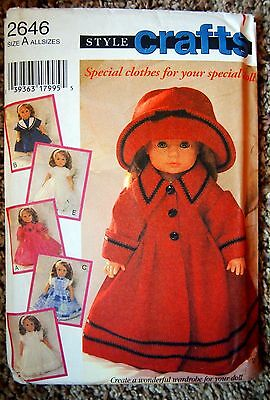 "UNCUT Style 2646 12"", 16""-18"", 20""-22"" Baby Doll Clothes Pattern 5 Options"