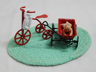 Dollhouse Miniature 1:12 Scale Girl Bike Tricycle & Toys  #Z86A
