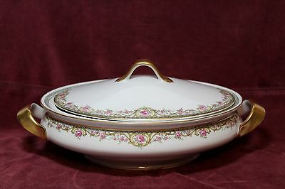 """Theodore Haviland Limoges  Antique 1903  10 """" Oval Covered Vegetable Bowl"""