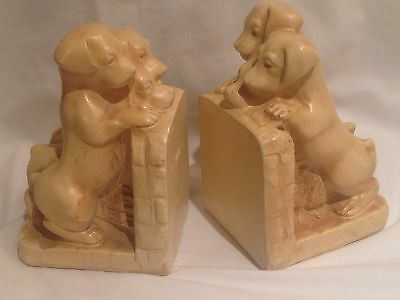 Vintage Beige Chalkware Dog Triplet Puppies Bookends