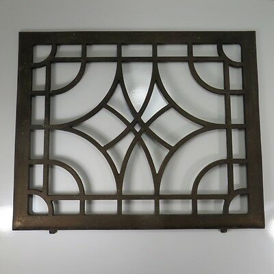 """Vintage Cast Iron Art Deco Grate Rectangle 16"""" x 13"""" Steel Wall Heating Vent"""