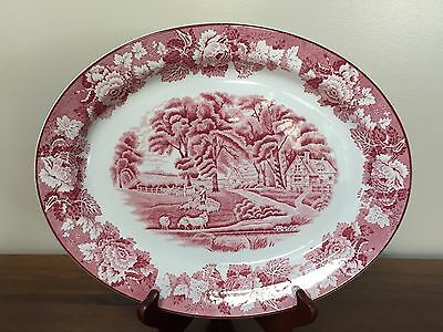 """Wood & Sons ENGISH SCENERY PINK 12"""" Oval Serving Platter"""