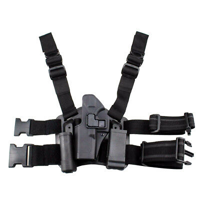 Tactical Left Hand Drop Leg Thigh Belt Gun Holster Torch Pouch for Glock 17/22