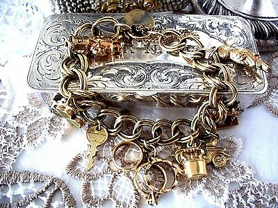 Vintage Solid Gold 9Ct Charm Bracelet ~ Heavy Weight 38.4 Grams ~ Quality Piece