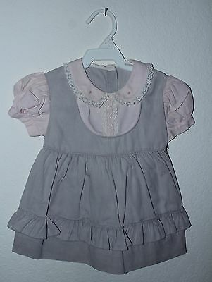 Vtg Lg Doll Pink Dress Grey / Pink Flower Lace Playpal Toddler Sz 12-18 Mo?