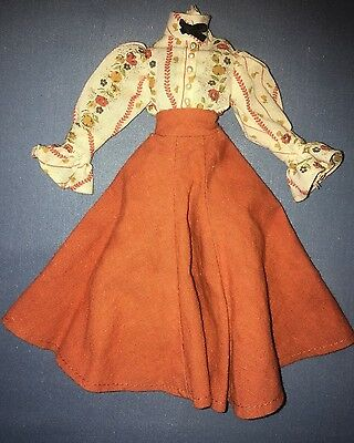 Vtg 1975 Ideal Jody Old Fashioned Girl Gibson Girl Dress White Brown Orange TAG