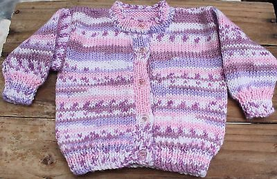 Vintage Hand Knit Baby Cardigan Jumper Sz 00 0 Girls Sweater Pink Purple Toddler