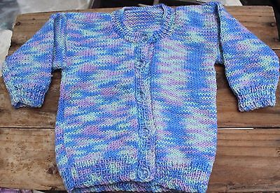 Vintage Hand Knit Baby Cardigan Jumper Sz 00 000 Boys Girls Sweater Blue Green