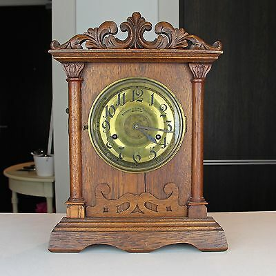 Antique Fattorini & Sons Bradford English Mantel Alarm Clock AS IS