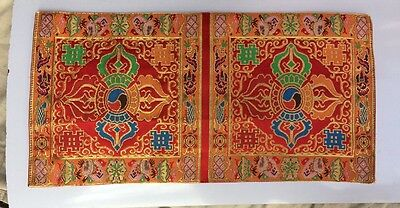 Tibetan Red double dorje silk brocade table cover /altar cloth /placemats/shrine