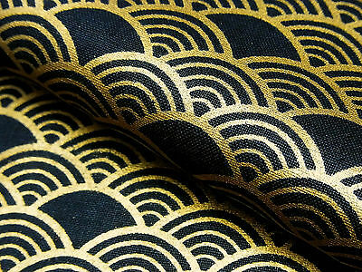 Japanese Fabric_Cotton_Black,Gold,Seigaiha_Half Yard,#m015