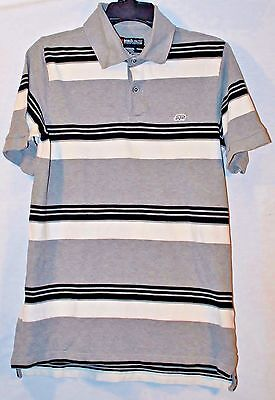 498dfe2e0c0 ECKO UNLTD Men's Striped Rugby Polo Shirt - Black/Gray/White - Size:
