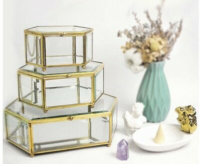 Glass Display Box Brass Metal With Mirror Bottom Candy Bar Decoration LARGE