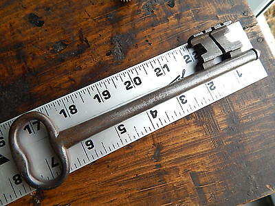 RARE old large antique French  key 18-19 th century,wrought iron castle ,rustic