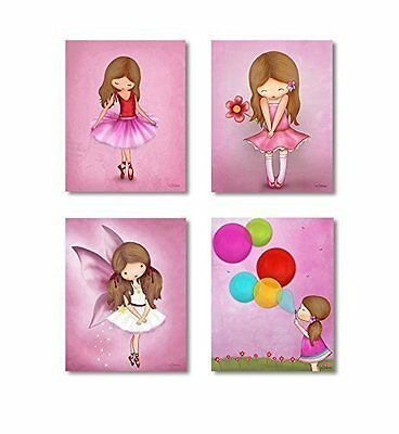 "Kids Bedroom Wall Posters for Girls Room Pictures Pink Decor Art 8""x10"" Set of 4"