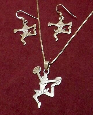 Vintage 70's MEXICO Stamped SILVER WORLD 925 Dancer NECKLACE & EARRING SET