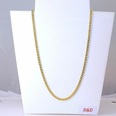 3mm High Quality 18K Gold 316L Stainless Steel Curb  Link Necklace 24""